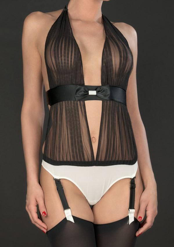 Body string drapé porte-jarretelles Cabaret Smoking - Maison Close