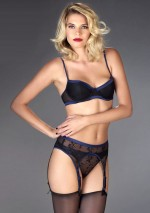 Vertige d'Amour blue satin garter belt Vertige d'Amour Maison Close