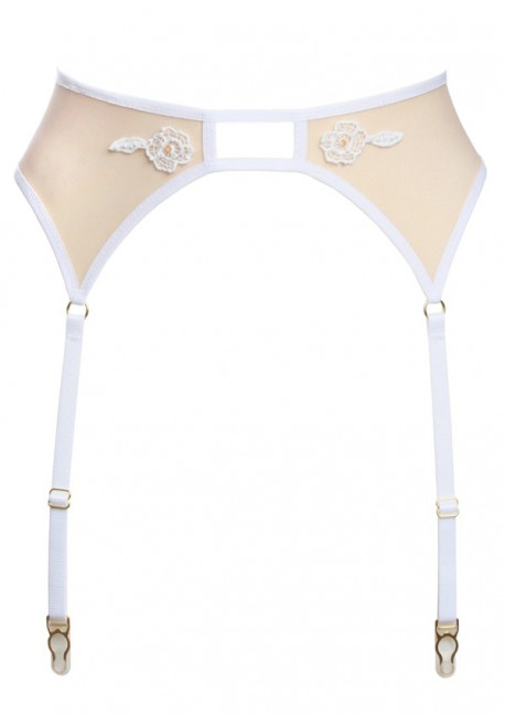 Nude suspender belt with white lace Flash You And Me