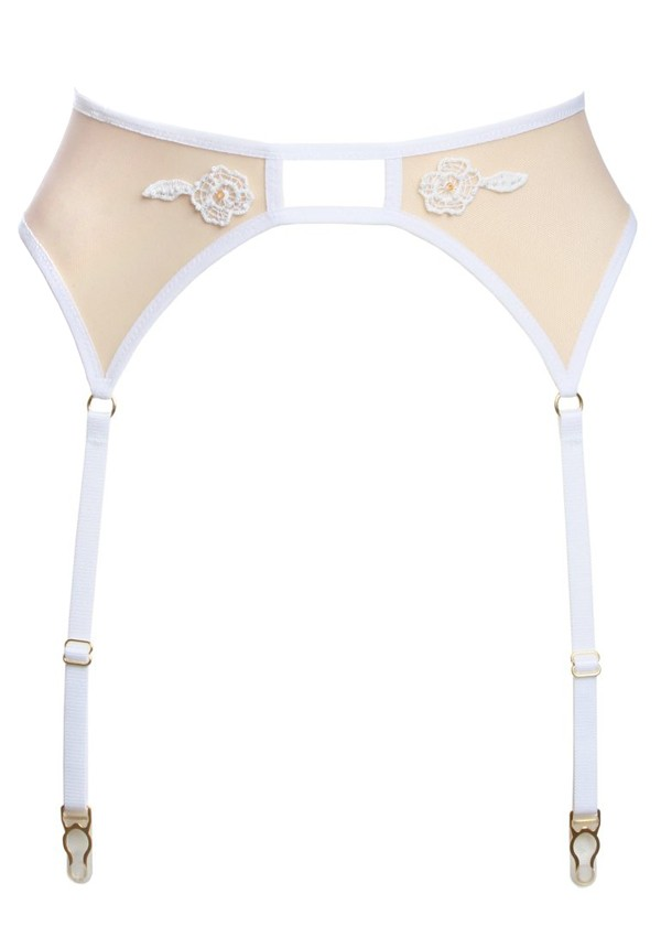 Nude suspender belt with white lace - Flash You And Me