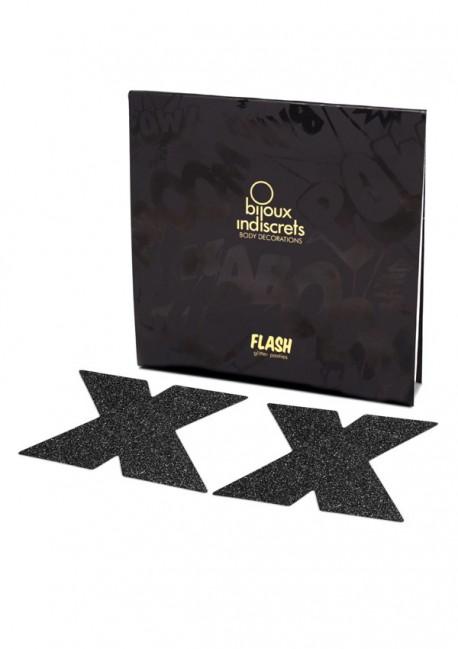 Cache-têtons paillettes noirs croix Flash - Bijoux Indiscrets