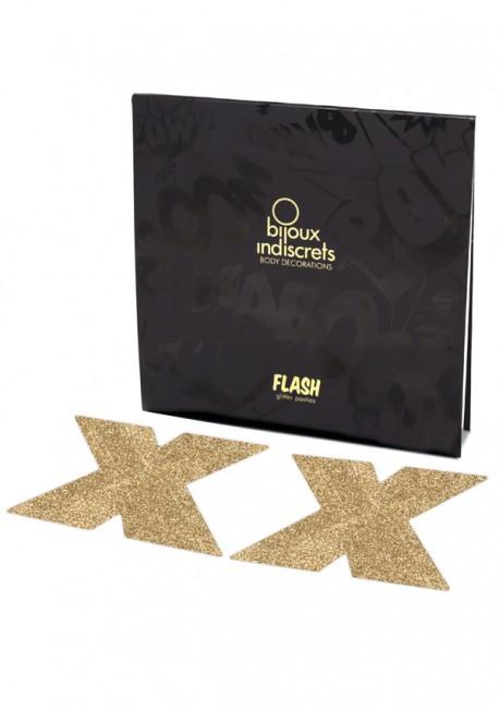 Cache-têtons paillettes dorés croix Flash - Bijoux Indiscrets