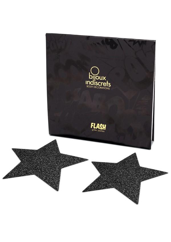 Cache-tétons paillettes noirs étoiles Flash - Bijoux Indiscrets