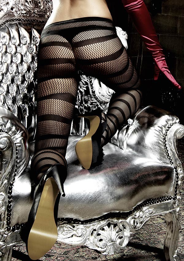 Black fishnet tights with stripes Les originaux - Baci