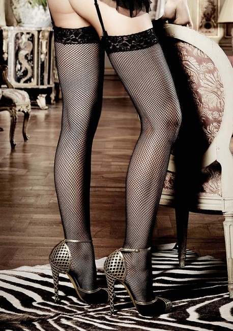 Black fishnet stockings with lace garter Les basiques Baci