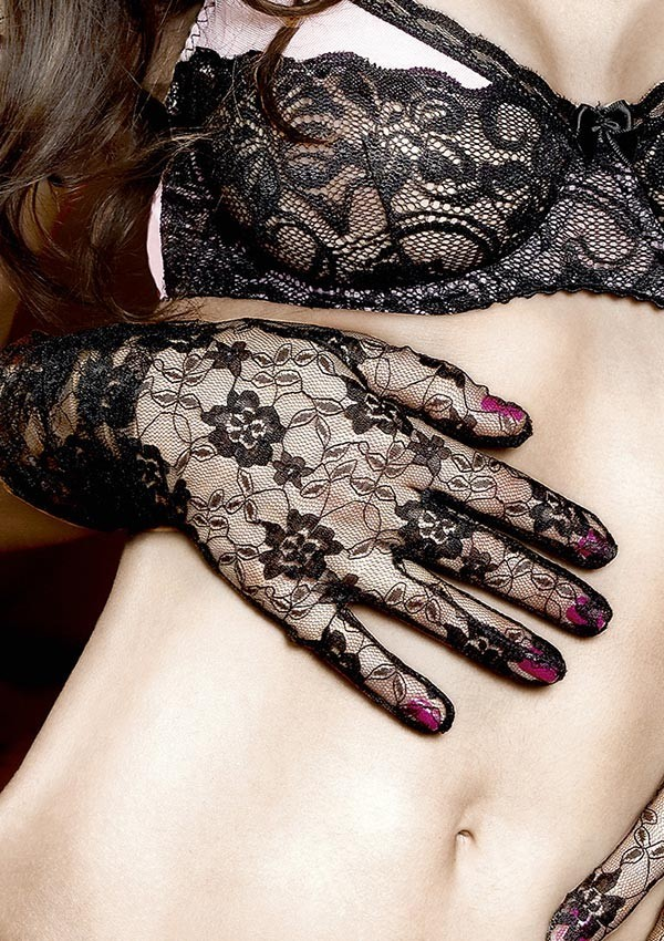 Black foral lace gloves Have fun Princess - Baci
